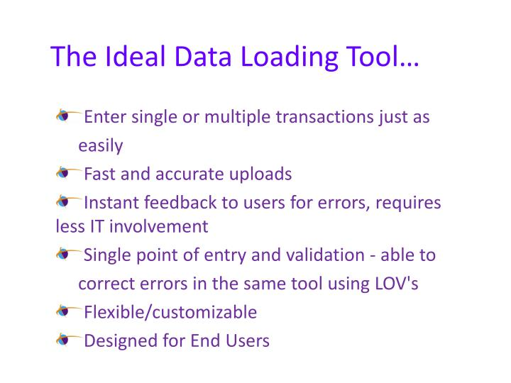 The Ideal Data Loading Tool…