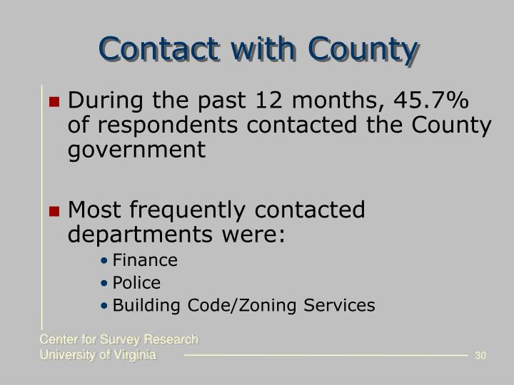 Contact with County