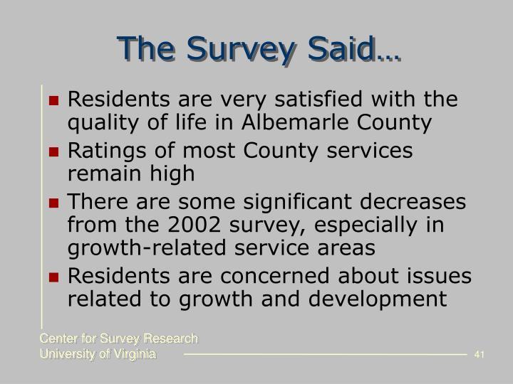 The Survey Said…