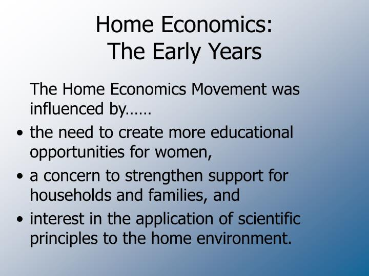 Home economics the early years
