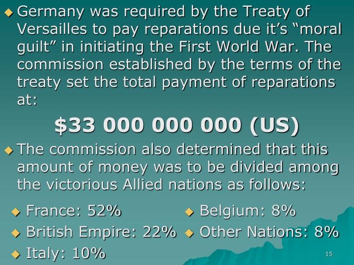 """Germany was required by the Treaty of Versailles to pay reparations due it's """"moral guilt"""" in initiating the First World War. The commission established by the terms of the treaty set the total payment of reparations at:"""