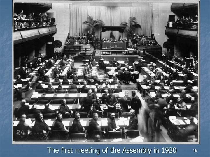 The first meeting of the Assembly in 1920