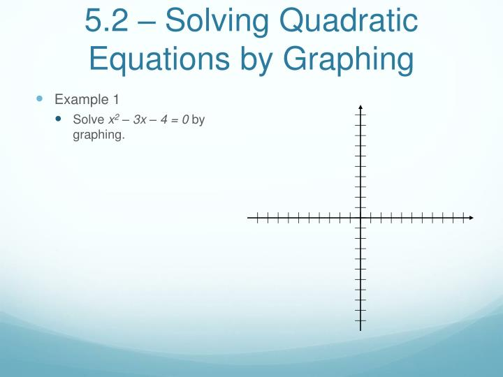 5.2 – Solving Quadratic Equations by Graphing