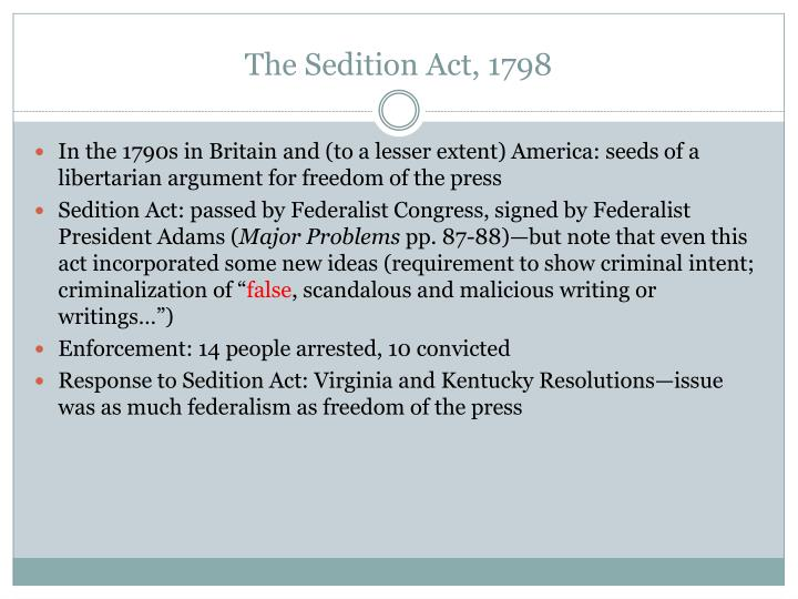 an analysis of the sedition act of 1798 Alien and sedition acts (1798) document text fifth congress of the united states: at the second session, begun and held at.