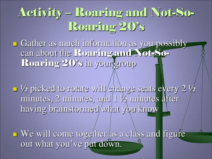 Activity roaring and not so roaring 20 s