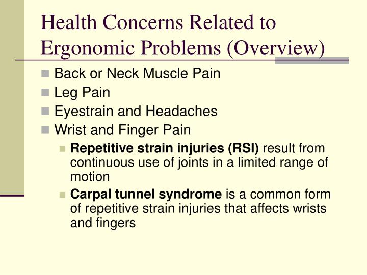 Health Concerns Related to Ergonomic Problems (Overview)