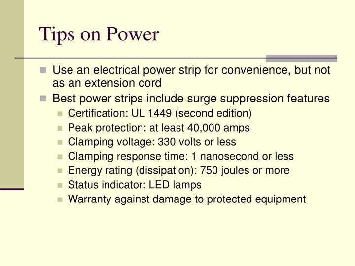Tips on Power
