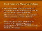 the feudal and manorial systems