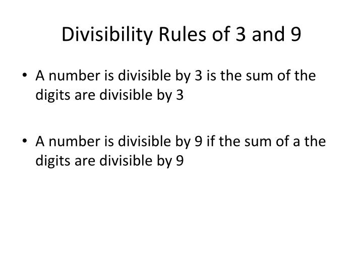Divisibility rules of 3 and 9