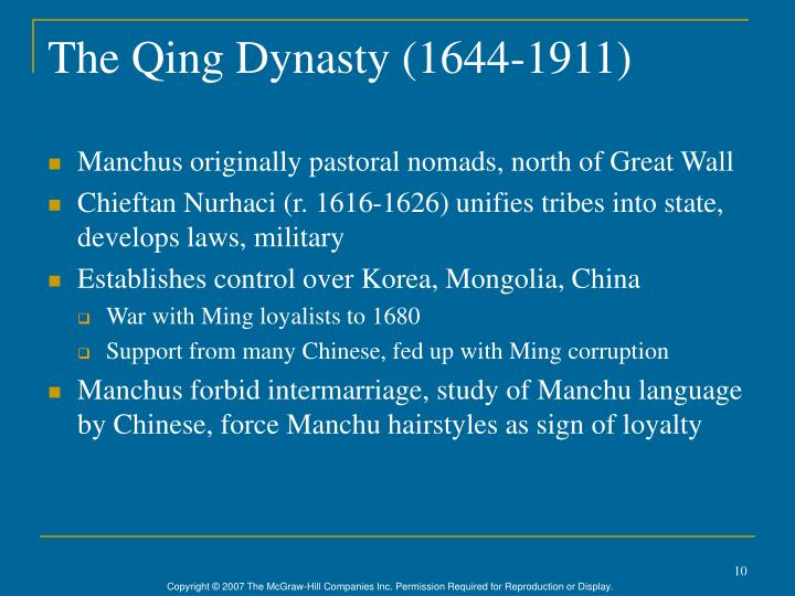 The Qing Dynasty (1644-1911)