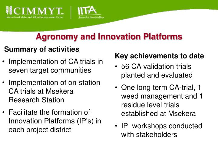 Agronomy and Innovation Platforms
