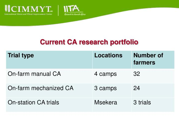 Current CA research portfolio