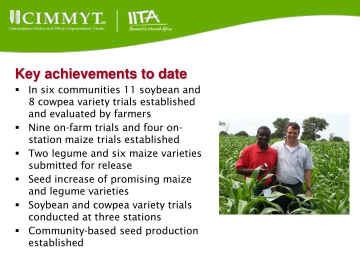 Key achievements to date