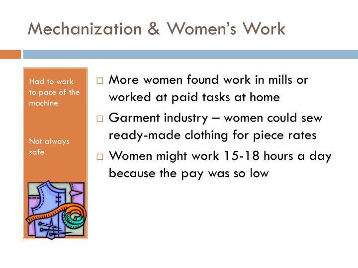 Mechanization & Women's Work