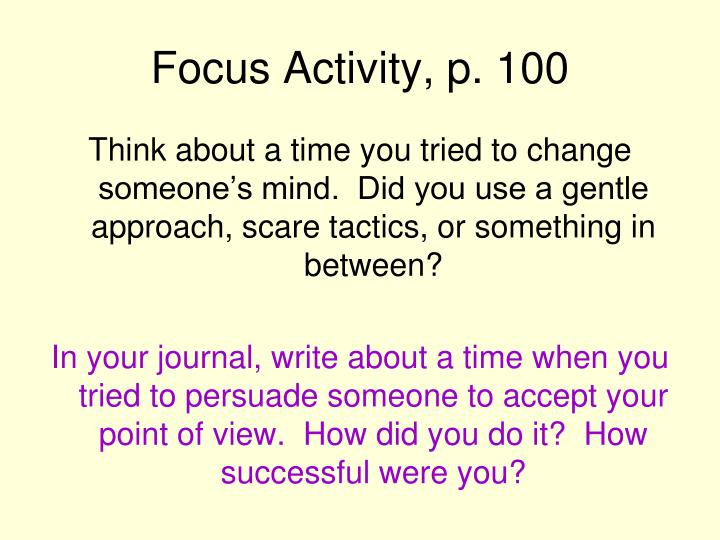 Focus activity p 100
