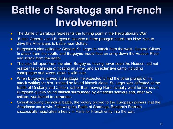 Battle of Saratoga and French Involvement