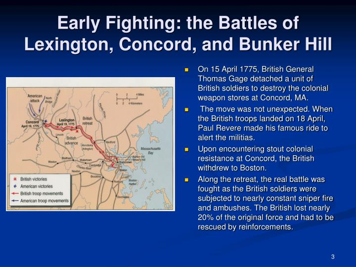Early fighting the battles of lexington concord and bunker hill