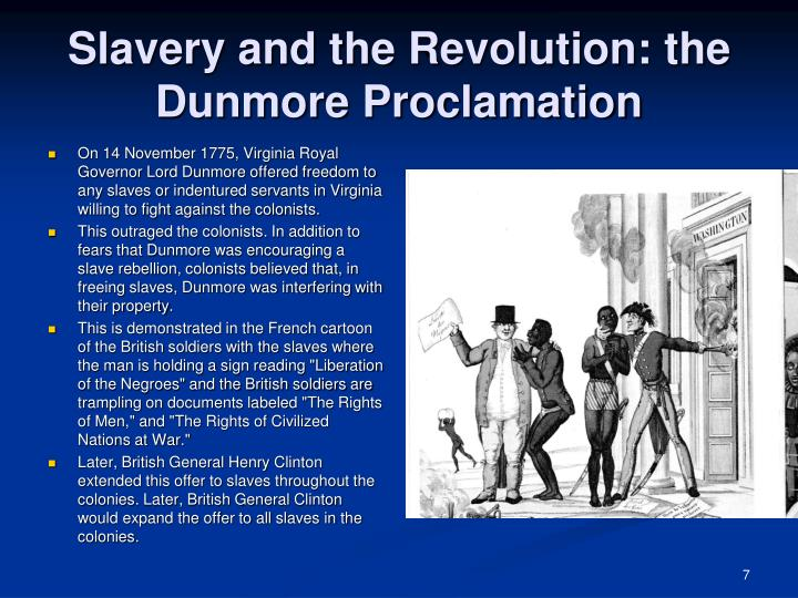 Slavery and the Revolution: the Dunmore Proclamation