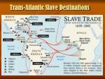 trans atlantic slave destinations
