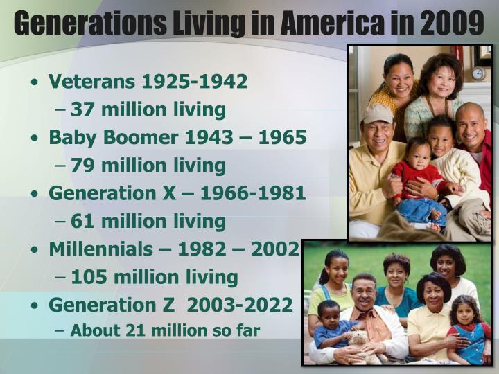 Generations living in america in 2009