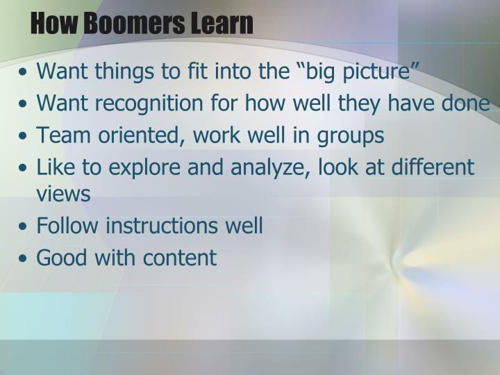 How Boomers Learn