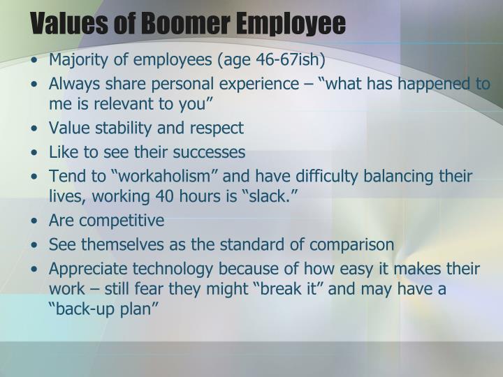 Values of Boomer Employee