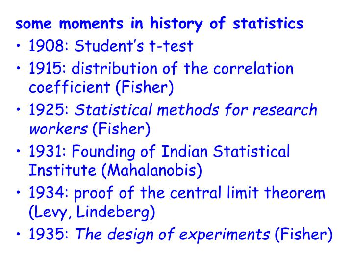 some moments in history of statistics