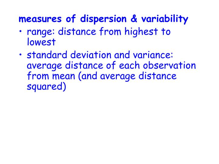 measures of dispersion & variability