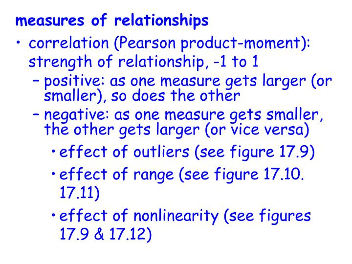 measures of relationships
