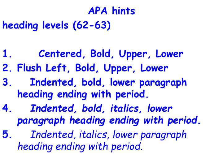 APA hints