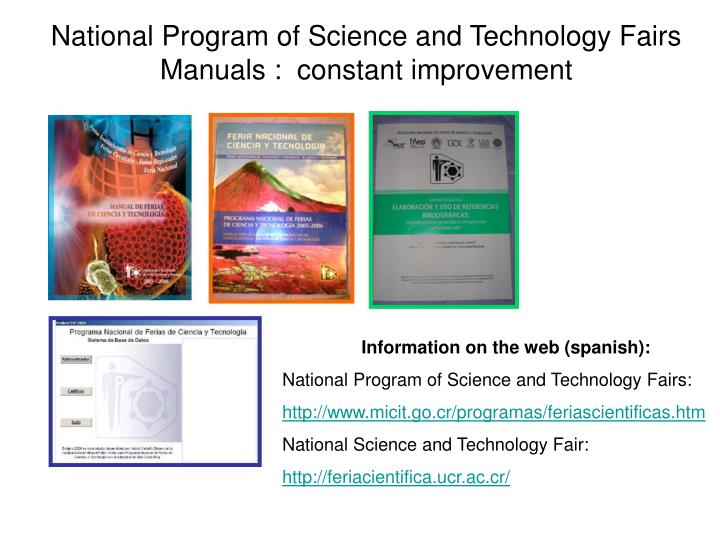 National Program of Science and Technology Fairs Manuals :  constant improvement