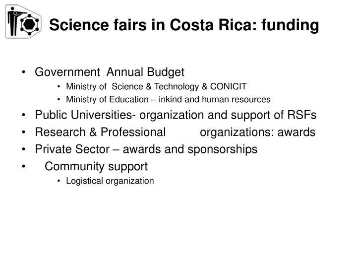 Science fairs in Costa Rica: funding