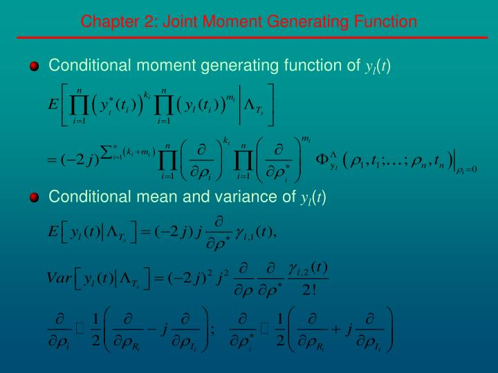 Chapter 2: Joint Moment Generating Function
