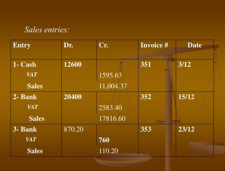 Sales entries: