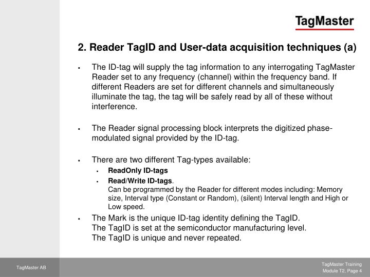 2. Reader TagID and User-data acquisition techniques (a)