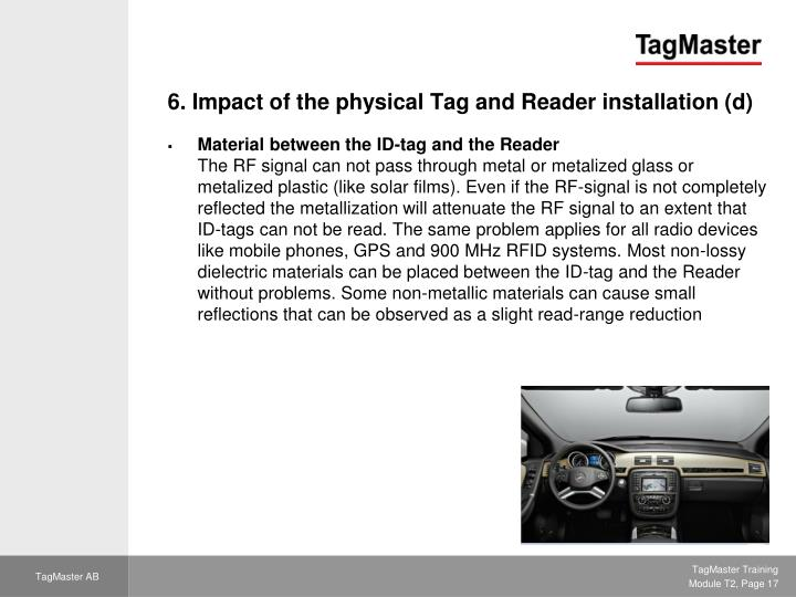 6. Impact of the physical Tag and Reader installation (d)