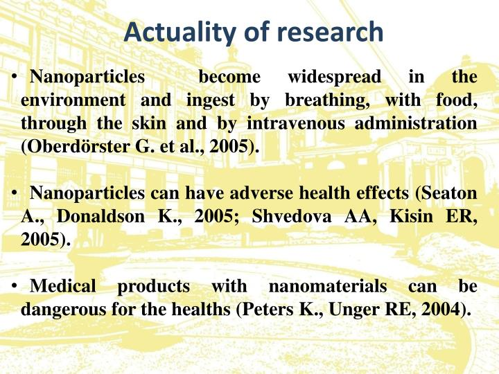 Actuality of research