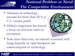national problem or need the competitive environment