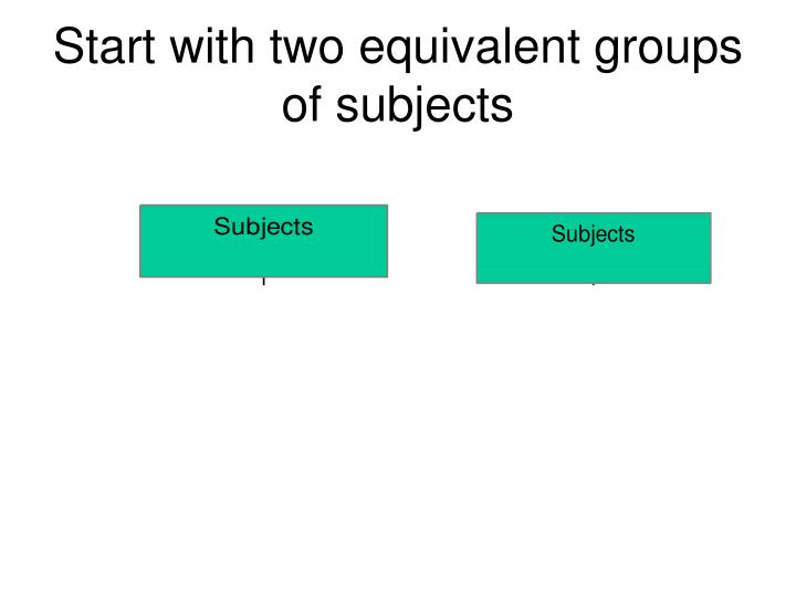 Start with two equivalent groups of subjects