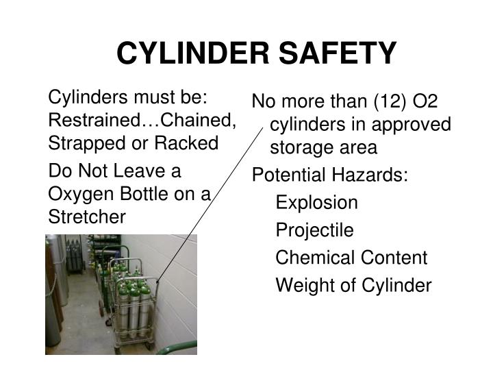 Cylinders must be:    Restrained…Chained, Strapped or Racked