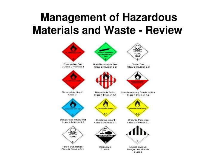 Management of hazardous materials and waste review