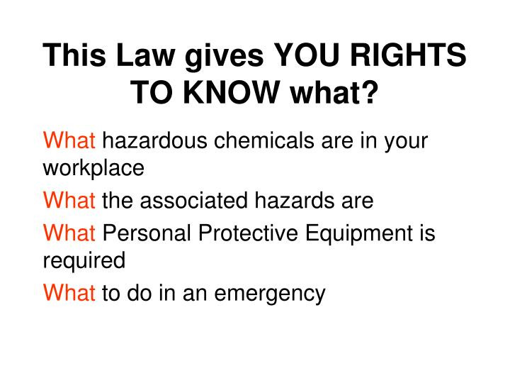 This Law gives YOU RIGHTS TO KNOW what?