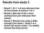results from study 2