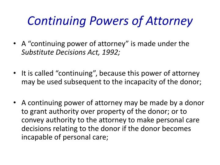 Continuing Powers of Attorney