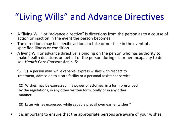"""""""Living Wills"""" and Advance Directives"""