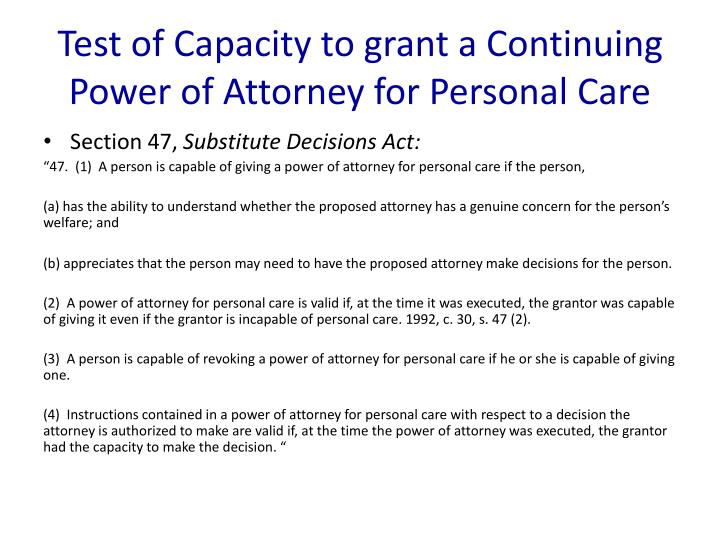 Test of Capacity to grant a Continuing Power of Attorney for Personal Care