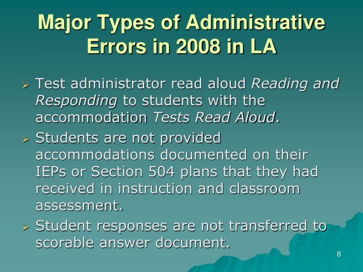 Major Types of Administrative Errors in 2008 in LA