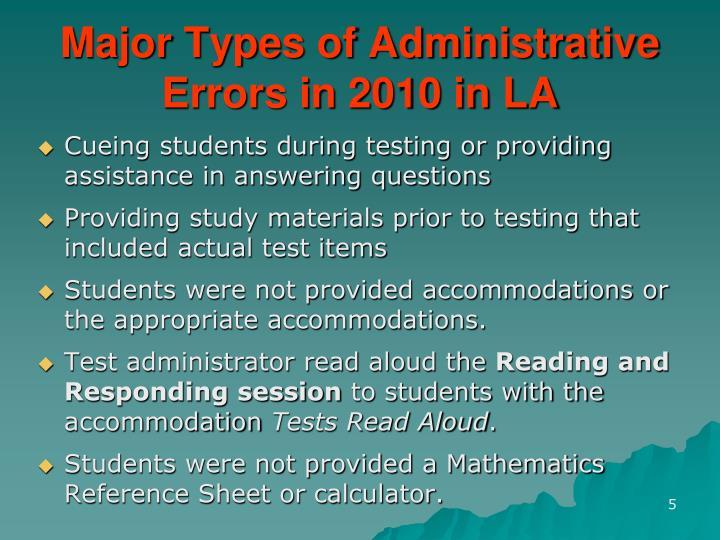 Major Types of Administrative Errors in 2010 in LA