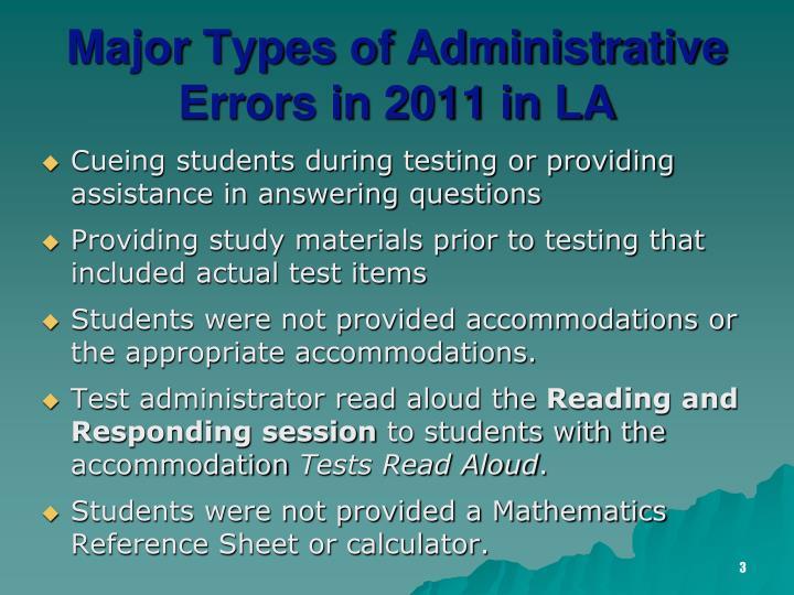 Major types of administrative errors in 2011 in la