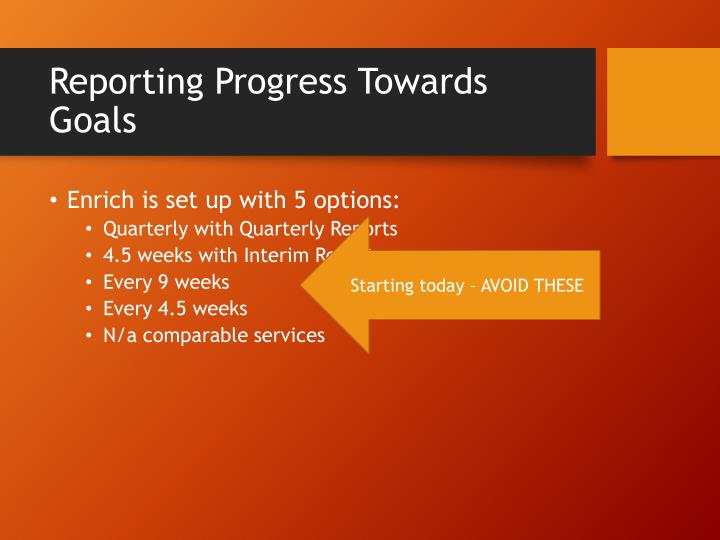 Reporting Progress Towards Goals